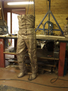 Welding together all the cast bronze sections for Richie Benaud sculpture