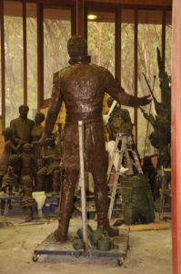 The back of rough clay model of 3 metre high Macquarie sculpture
