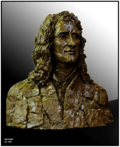 """Isaac Newton"" Life size clay bust"