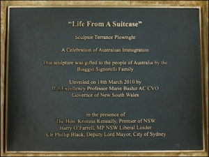 """Life from a Suitcase"" Plaques, Unveiled by the Governor of NSW Professor Marie Bashir and other dignitaries, 18th March 2010"