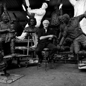 Plowright in his studio with a few friends