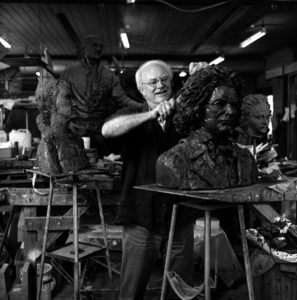 Plowright working on the bust of one of his great heroes, Beethoven