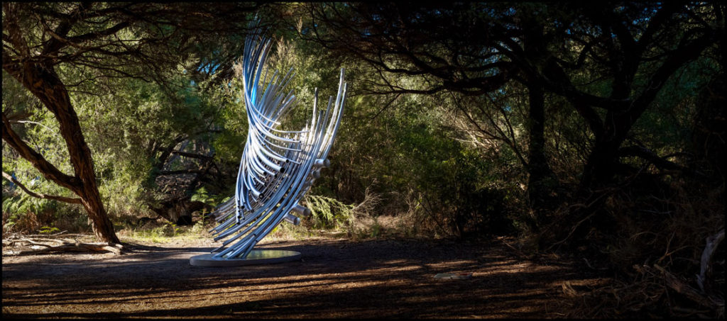 """Tubular Resonance"" 4.5 metre Stainless Steel, interactive sound sculpture"