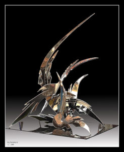 """Winged Exuberance"" Plate 316 stainless steel, 1.35m high x 1.27m wide x 90cms deep"
