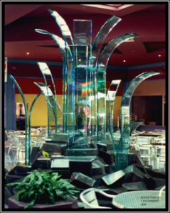 """Purity of Spirit"" 4.3m high by 3.3m wide, glass prisms and granite, (original site Neeta City, now in private collection)"