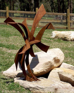 """Bird Sculpture"" Mild steel, approx 1.2m, Lend Lease for part of a group installed at Bingara Gorge, NSW"
