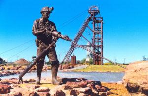 """Cobar Miner"" Cast bronze ,1 1/4 life size, 0.75 tonne, Cobar Council"