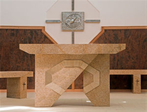 """Altar"" Granite with sandstone inlay. Kincumber Catholic Church, Woy Woy, NSW"