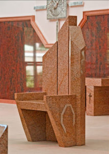 """Chair"" Granite with sandstone inlay. Kincumber Catholic Church, Woy Woy, NSW"