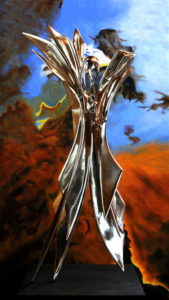 """Hymn to Existence"" with ""Eagle Nebula"" background, 316 stainless steel maquette, 1.5m high for potential large cast bronze or stainless steel sculpture"