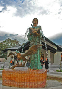"""St. John with Eagle"" 1 1/4 life size, cast bronze, includes water feature, Sydney NSW"