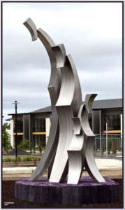 """Nest of Kindred"" 3.5m, Stainless steel, Clarendon Group, looking right"