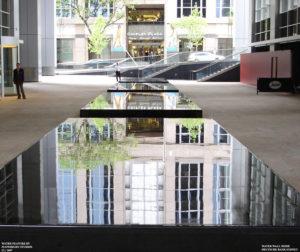 """Mirrored Stillness, Dancing Streams"" Deutsche Bank Building Fountain, 50m length, Zen Mode (still-waterwall) Phillip St. Sydney"