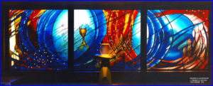 Stained glass window painted and etched glass, 11m x 3m, St. Bernadettes, Castle Hill