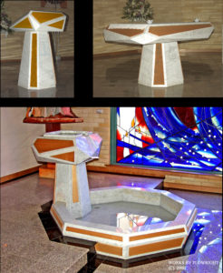"""Altar, Lectern and Baptismal Font"" Italian marble with timber inlay. Font designed for adults, children and babies, St Bernadettes, Castle Hill NSW"