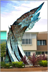 """Wings of Spirit"" Stainless Steel, 6 metres high, 5 tonnes. Water Gallery, Twin Waters, Qld"