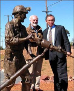 """Cobar Miner"" Unveiled by Premier Bob Carr, Terrance and Bob with 1 ¼ life size bronzed Cobar sculpture, Cobar NSW"