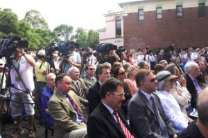"""Richie Benaud"" Crowd and Photographers"