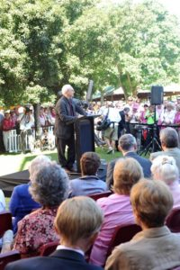 """Stan McCabe Unveiling"" Terrance Plowright speaking at the Stan McCabe sculpture unveiling"