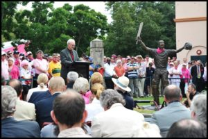 "Terrance Plowright speaks at the ""Steve Waugh"" sculpture unveiling"