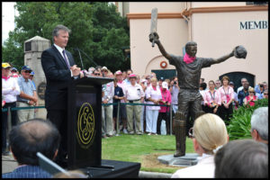 Steve Waugh speaks at unveiling