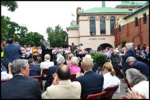 Steve Waugh speaking at the unveiling of his tribute sculpture