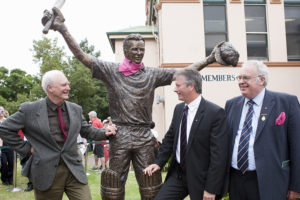 Steve & Terrance acknowledge each other with Rodney Cavalier at tribute sculpture