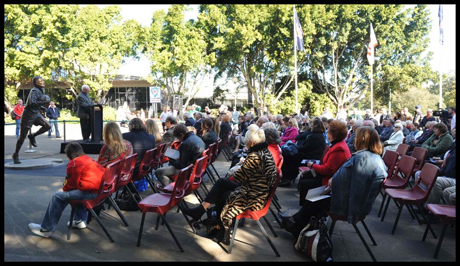 """Reg Gasnier Sculpture"" Crowd at the unveiling of the Reg Gasnier sculpture"