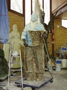 Demoulding the sculpture of Richie Benaud