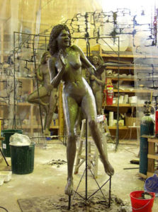 2 metres high clay model of Aboriginal girl for Skyway Three Sisters water feature, Katoomba