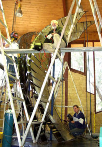 """Wings of Spirit"" Terrance Plowright with art assistants, building original full size model of Wings of Spirit"