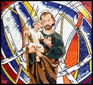 """FATHER AND SON, ALL NURTURE IS SACRED"" Italian glazed mosaics, 2m by 1.7m, St. Johns Church, Mt. Druitt"