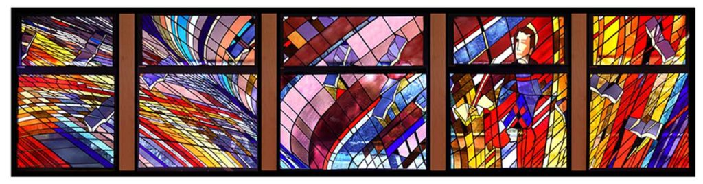 """""""A tribute to the works of St. Thomas Aquinas"""" Stained machine made glass, painted figure, 9m wide x 2.4m high"""