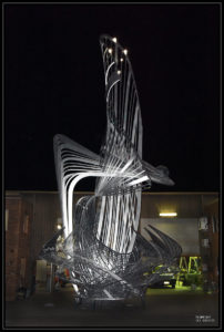 """Uniting A Nation"" Sculpture being worked on at night"