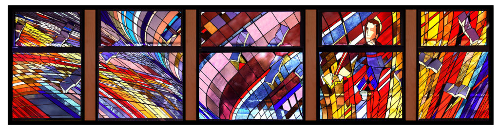 """A tribute to the works of St. Thomas Aquinas"" Stained machine made glass, painted figure, 9m wide x 2.4m high"