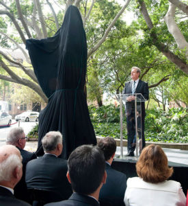"""Lachlan Macquarie"" NSW Premier, Barry O'Farrell speaking at the sculpture unveiling"