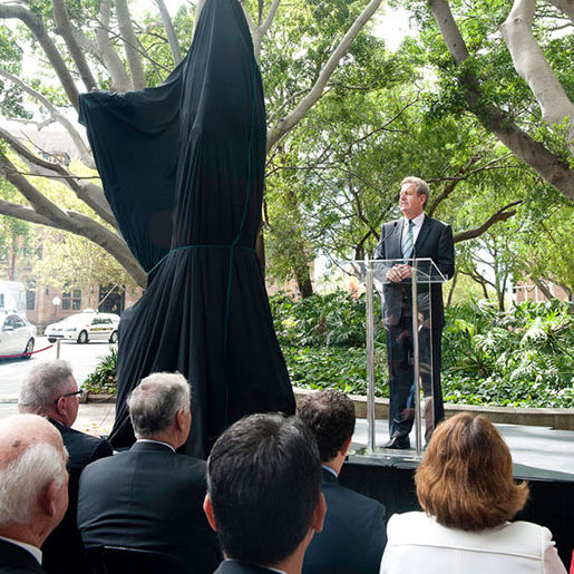 """""""Lachlan Macquarie"""" NSW Premier, Barry O'Farrell speaking at the sculpture unveiling"""