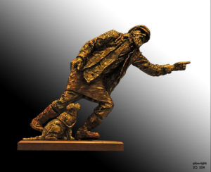 """""""Peter Carroll"""" Maquette for large life size sculpture. Stands 300 mm high, cold cast bronze"""