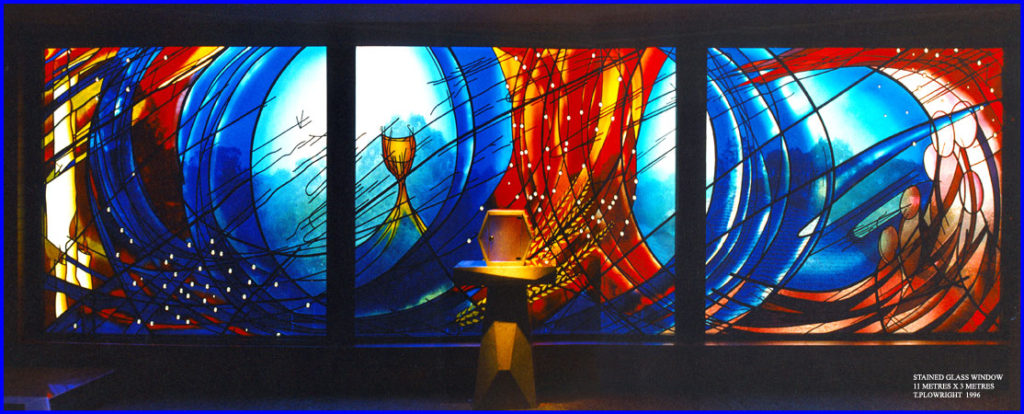 This stained glass window alludes to baptism, Eurcharist, community and reconciliation painted and etched glass, 11m x 3m, St. Bernadettes Castle Hill