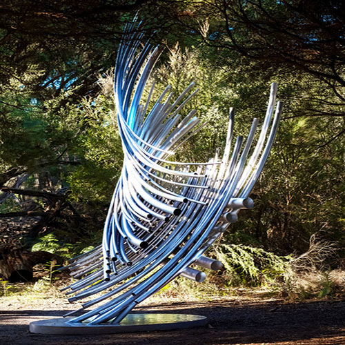 """Tubular Resonance"" 4.5 metre Stainless Steel, interactive sound sculpture"