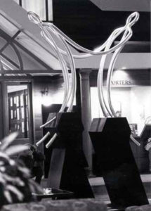 """""""Emerging Relationship"""" Hand worked steel, 3.3m. Perth Hospital"""