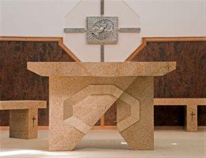 """Altar"" Granite with sandstone inlay. Kincumber Catholic Church, Woy Woy, NSW"