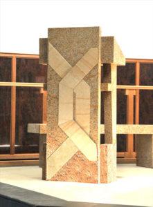 """Lectern"" Granite with sandstone inlay. Kincumber Catholic Church, Woy Woy, NSW"