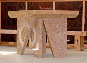 """Altar"" side view, Granite with sandstone inlay. Kincumber Catholic Church, Woy Woy, NSW"