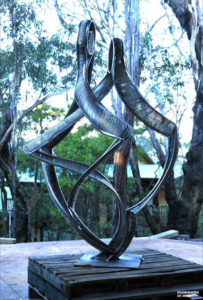 """""""Dance of Intimacy"""" Completed stainless steel sculpture awaiting plinth at studio"""