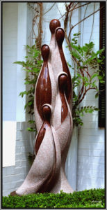 """Inseparable from Nature 3"" Carved from red granite and stands 2.2 metres high. Private Collection"