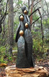 """""""Inseparable from Nature"""" Cast bronze using the """"Lost Wax Tradition"""". 2.3 metres high. Weight around 650Kg. Haloid Lights Included. Free delivery within the Sydney area. P.O.A"""