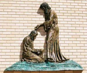 """John the Baptist and Jesus"" Cast bronze, 2.5m height"