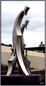 """Nest of Kindred"" 3.5m, Stainless steel, Clarendon Group, looking left"