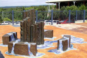 """""""Spring in the Wood"""" Sculpture, sand cast bronze with Italian glass mosaics and LED lighting, Springwood"""